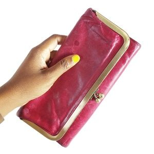HOBO Rachel Wallet Trifold Mirror Leather Pink